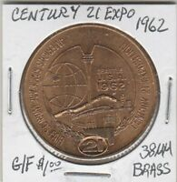 Token - Seattle, WA - Century 21 Exposition - 1962 - G/F $1.00 - 38 MM Brass