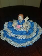 VINTAGE PORCELAIN BISQUE DOLLHOUSE DOLL ornately dressed moveable limbs