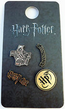 PRIMARK NEW HARRY POTTER HOGWARTS 4 PINS BADGES BROWN METAL BNWT