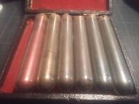 6 Anciens tubes de Bronze en poudre en coffret => restauration - cadre -horloge