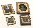 4 Antique Vintage Civil War Era Daguerreotype Gold Filled Case Photo Frame