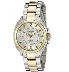 Stunning 2 Tone Ladies Watch AKRIBOS XXIV Swiss Quartz Diamond Dial MOP $475