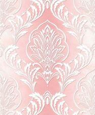Metallic Feature Damask Faded Stripe Effect - Crown Aiya Pink Wallpaper M1164