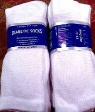 6 Pair Men WHITE Cotton Casual Crew Diabetic Socks Loose Fit KING Size 13-15 USA