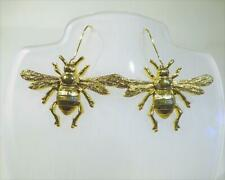 CG5993...BRIGHT GOLD PLATED BEE EARRINGS - HOOKED WIRES - FREE UK P&P