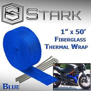 """1"""" x 50' Ft Motorcycle Header Exhaust Heat Wrap Fiberglass Manifold - Blue (B)"""