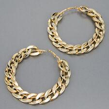 Gold Finish Cuban Link Urban Design Hoop Style Earrings