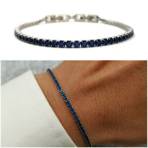 Bracciale tennis uomo acciaio in blu braccialetto da inox con regolabile