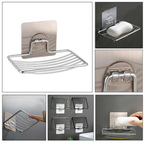 Stainless Steel Soap Holder Dish Free Punch Bathroom Wall Mounted Storage Rack
