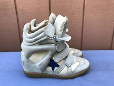 EUC ISABEL MARANT 37 US 6.5 Baby Blue Suede OG BAYLEY STAR Wedge Sneaker Shoe A5