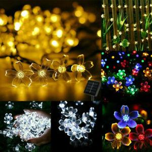 20/50/100 LED Solar lichterkette Blume Garten Außen Beleuchtung Lampe PartyLicht