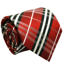 Silk 8cm Wide Red Tartan Men Tie Fashion Wedding Office Party Formal Men Necktie