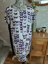 Joules purple butterfly design tunic dress with pockets size UK14