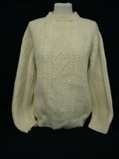 Aran Cable Knit Sweater, Hand Knit Chunky Jumper, Large, Cream, Wool, 57cm Wide