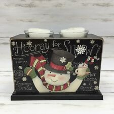 "2014 Lang ""Sam Snowman"" Christmas Wood Votive Box Candle Holder Hooray for Snow!"