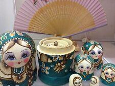 7 Pcs Wooden Russian Nesting Dolls Traditional Matryoshka Wishing Dolls Gift New