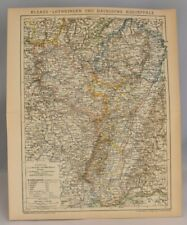 Rare Collectable Map of the Germany France Border | Original Antique Print 1897