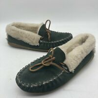 LL Bean Womens  05488 Sz 7 M Green Suede Leather Slipper Moccasins