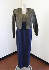 NWT Vtg Karen Miller Navy Blue Gold Striped Evening Dress & Jacket Set Size 8
