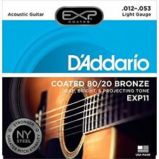 D'Addario EXP11 Coated Acoustic Guitar Strings, 80/20, Light, 12-53