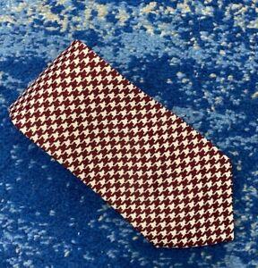 NEW Robert Talbott Vintage Burgundy Off-White Houndstooth Silk Necktie USA