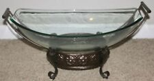 Decorative Glass Bowl with heavy Metal Stand Centerpiece