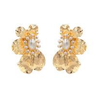 Elegant Women Pearl Flower Ear Stud  Drop Dangle Earrings Jewelry Gift