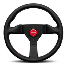 MOMO Steering Wheel MONTE CARLO Black Leather 320mm with Red Stitching US Dealer