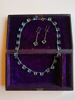 RARE Antique Victorian Edwardian Riviere Necklace Earrings Aqua Glass Silver VTG