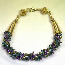 Purple Kumihimo Seed Bead Bracelet with gold-filled findings