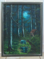 OIL PAINTING ON CANVAS FRAMED SIGNED WLAD, BRIGHT MOON IN THE FOREST