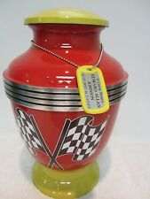 234Racing Red & Yellow Adult Metal Memorial Cremation Urn  free ID tag!