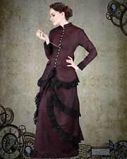 Victorian Steampunk Burgandy Brocade Dinner Dress s, m, l, xl, 2xl, 3x, 4xl
