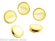Lot de 5 BOUTONS métal de couleur or pastille jaune nacrée Ø 14mm button