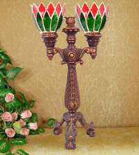 AMAZING LEADLIGHT STAINED GLASS MOSAIC XMAS DOUBLE CANDLE HOLDER