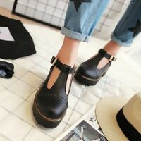 T-Strap Buckle Solid Womens Mary Jane Ankle Strap Mid Block Heel Casual Shoes