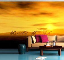 Papier peint papier peint chambre & salon afrique-safari girafes 72x100 pouces