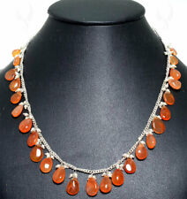 pearls & carnelian almond shape drops knotted necklace in silver chain NM1092