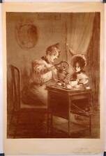 Lithographie de J.E. Blanche, XIXe, Le Thé