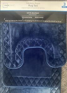Mainstays Memory Foam 3 Piece Bathroom Rug Set Navy Blue