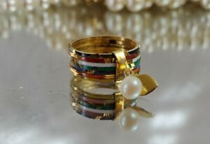 Vintage Stacking Charm Ring. Pearl, Gold Tone, Colorful Enamel. Size 5.5. J-287