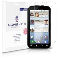 iLLumiShield Phone Screen Protector w Anti-Bubble/Print 3x for Motorola Defy