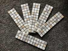 6 X Mosaic Border Tiles, Tan, Yellow, White Travertine Mosaic 300mm X 75mm