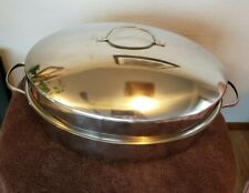 """New Stainless Steel Oval Covered Roaster Pan With Rack - 12"""" x 17"""""""