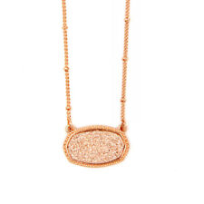 Rose Gold Champion Druzy Choker Necklace Geometric Framed Oval Drusy Sautoir