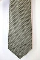 Rene Chagal Green Taupe Geometric Print Hand Made Silk Neck Tie