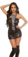 KouCla Neckholder Minikleid Partykleid mit Steine Lederlook One Size 34 36 38