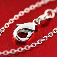 """Necklace Real 925 Sterling Silver S/F Solid Fine Link Pendant Charm Chain 18"""""""