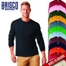 Brisco Heavy Cotton 5.2 oz Adult Blank Color Plain Long Sleeve T Shirt Tee Top