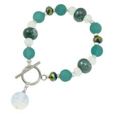 Harmony Ocean Dark Turquoise Jade and Crystal Ceramic Beaded Bracelet